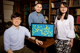 University of Illinois postdoctoral researcher Juyeong Kim (left), graduate student Zihao Ou (middle) and professor Qian Chen (right) have developed a new technique for observing colloidal nanoparticles while they interact and self-assemble. Photo by L. Brian Stauffer.