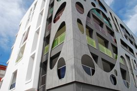 Trespa Meteon panels create ventilated rain screen cladding systems and decorative skins.