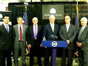 From left: Dr Ozdoganlar, Carnegie Mellon University, Dr Allen Snyder, Lehigh University, Jim Williams, 3D Systems, Gov Tom Corbett, Ralph Resnick, America Makes, Ed Morris, America Makes.