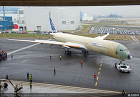 The first Airbus A350 XWB, MSN001, emerges for outdoor testing. (Picture © Airbus/P. Pigeyre.)