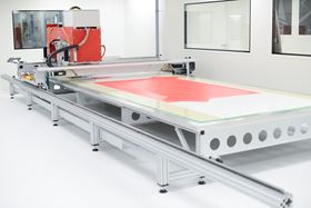The automated tape laying machine for the manufacture of composite preforms.