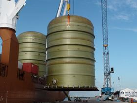 Lifting tanks onto the ship.