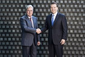 Hariolf Kottmann, CEO of Clariant (left) and Peter R Huntsman, president and CEO of Huntsman.
