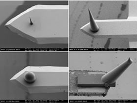 Optimally-adapted AFM probes can now be produced by 3D laser lithography at KIT. Photos: KIT.