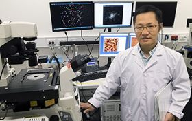 Qiaoliang Bao at Monash University has found that antimonene, a 2D material, has greater sensitivity than graphene for detecting DNA and microRNA associated with cancer. Photo: Monash University.