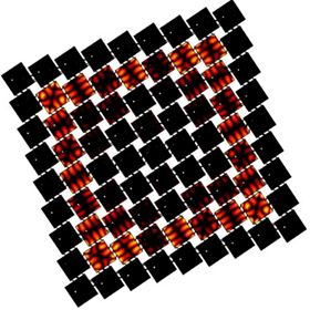 An illustration of a metamaterial designed by Daraio's team. Though each individual square is identical, their layout and the metamaterial's overall design cause waves to propagate in a specific pattern through the material, as indicated by the squares' different colors. Image: Chiara Daraio/Caltech.