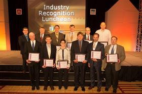 Figure 1. Congratulations to the MPIF Distinguished Service Award Winners. From left (back row): Gilles L'Espérance; Roger Lawcock; Nicholas Mares; James Oakes; Mark S Greenfield; and Richard Pfingstler. Front row: Russell A Chernenkoff; Joseph Strauss; Susan M Abkowitz; Michael E Lutheran; Paul A Hauck; and Robert T Beimel. Photo courtesy of MPIF.