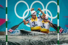 Tim Baillie and his C-2 partner Etienne Stott won the Gold medal at the London 2012 Olympics in the sport of canoe slalom. Photo courtesy AEPhotos,