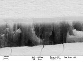 Figure 5: FE SEM showing low-temperature passivate film over zinc.