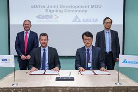 From left to right: Liam Butterworth, CEO, GKN Automotive; Hannes Prenn, COO, ePowertrain, GKN Automotive; Simon Chang, COO, Delta Electronics; James Tang, VP, Delta Electronics.