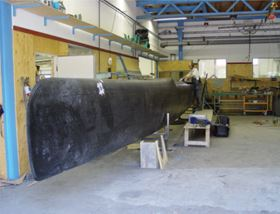 One of the hulls in production.