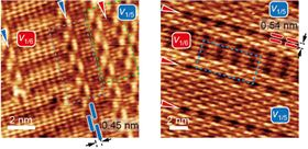 These scanning tunneling electron microscope images of line defects in 1-to-6 and 1-to-5 borophene, indicated by blue and red arrowheads respectively, show how the defects align in a way that preserves the synthetic material's metallic nature. Image: Hersam Research Group/Northwestern University.