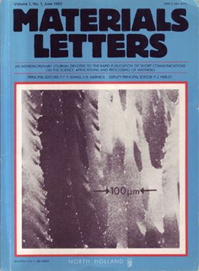 Front cover of the first issue of Materials Letters, showing an SEM micrograph of micro-zone melted silicon thin film from the paper by H.J. Leamy, C.C. Chang, H. Baumgart, R.A. Lemons and J. Cheng from Bell Laboratories, USA, Materials Letters, Volume 1, Number 1 (1982) 33–36.