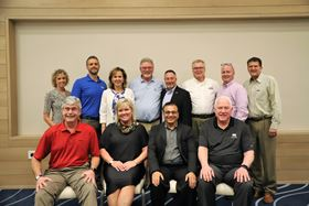 Front row, left to right: PCI officers, Chris Merritt, Sue Ivancic, Suresh Patel and John Sudges. Back row, left to right: Sheila LaMothe, PCI interim executive director, Rick Gehman, Shelley Verdun, John Cole, Marty Korecky, Ron Cudzilo, Tom Whalen and Paul West.
