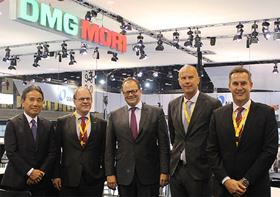 From left to right Dr. Masahiko Mori, CEO at DMG MORI; Klas Forsström, president of Sandvik Coromant; Christian Thönes, chairman of the executive board of DMG MORI; Björn Roodzant, VP marketing communication and Sean Holt, general manager sales area Americas.