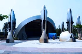 Entrance to the Spaceship attraction in Disneyland China's Tomorrowland.