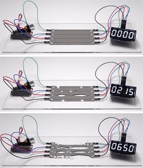 These photos show a digital clock continuing to run as damaged circuits instantaneously heal themselves, rerouting electrical signals without interruption. Photos: Nature Materials.