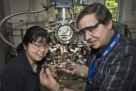 Brookhaven Lab chemists Ping Liu and José Rodriguez helped to characterize structural and mechanistic details of a new low-temperature catalyst for producing high-purity hydrogen gas from water and carbon monoxide. Photo: Brookhaven National Laboratory.