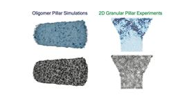 Snapshots of softness fields and particle arrangements for the oligomer pillar simulation and the granular pillar experiment, two of the systems investigated in the Science paper. Image: University of Pennsylvania.