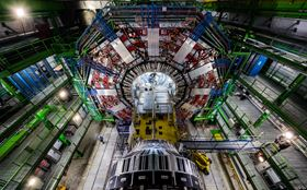 The 21 m long Compact Muon Solenoid detector acts as a giant, high-speed camera, taking 3D 'photographs' of particle collisions up to 40 million times each second. (Picture courtesy CERN.)