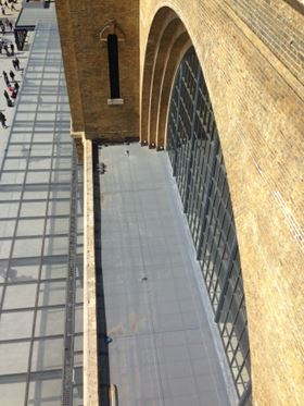 The GRP flat roofing project at Kings Cross Square, London.