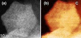 The image on the left shows the shape of a manganese catalyst particle. The image on the right shows the uniform elemental distribution of carbon throughout the particle. Image: Gang Wu, University at Buffalo.
