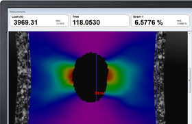 Screenshot of Imetrum's strainmap – tensile with hole.