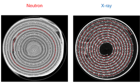 Reconstructed tomograms from neutron and X-ray computed tomography. Clearly visible in the X-ray image is the nickel current-collecting mesh, which appears brighter than the active electrode material. Image: UCL, ILL, HZB.