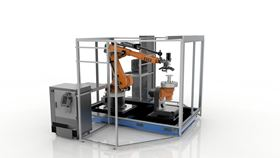 Stratasys Robotic Composite 3D Demonstrator unveils a hybrid approach for automated composite part production that enables the full value of additive manufacturing to be applied. Photo courtesy Stratasys.