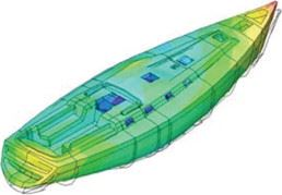 PAM-RTM linkage with CATIA 5 can also model VARTM and VARI process parameters for yacht production. (Source: ESI Group.)