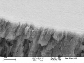 Figure 3: FE SEM showing blue passivate film over zinc.