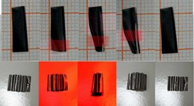 Optical images of the folding and unfolding behavior of the walking device.