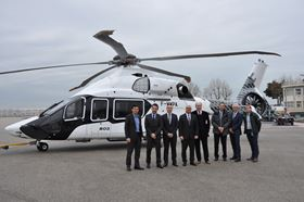 The A350 XWB has a structure that is 53% composites. From left to right: Frederic Devenne (Airbus Helicopters), Yvan Arnaudier (Hexcel),  Mathieu Bonnafoux (Hexcel), Gerard Chekherdemian (Hexcel), Jobst Queckboerner (Hexcel), Matthias KOENIG (Airbus Helicopters), Frederic Bozek (Hexcel), Guillaume Massé (Airbus Helicopters).