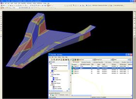 This is the composite surface of an air inlet duct for the TAI's UAV programme during a 3D CAD modelling session. FiberSIM software indicates manufacturability by colour: the blue represents an area that will not present manufacturability issues; yellow indicates an area of mild material deformation over the complex curvature; and the red shows where there will be wrinkling and/or bridging issues that need to be corrected in the design phase.