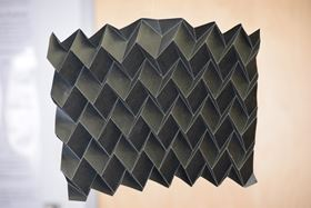 This novel, three-dimensional, foldable radiator is inspired by the art of paper folding. Still early in its development, researchers are experimenting with different shapes to determine which configuration would work best as a radiator. Photo: Brigham Young University.