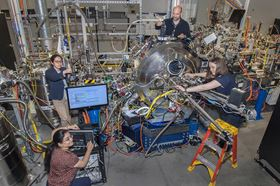 (Left to right) Roopali Kukreja from UC Davis and the CSX team Wen Hu, Claudio Mazzoli and Andi Barbour prepare the beamline for the next set of experiments. Photo: Brookhaven National Laboratory.