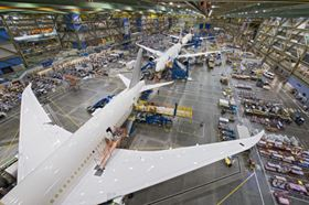 In May, Boeing announced that it was increasing the production rate for its B787 Dreamliner to seven aircraft per month. Here, three Dreamliners are shown in the final assembly facility in Everett, Washington. (Picture © Boeing.)