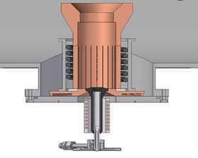 Schematic of the titanium close-coupled gas atomization set-up utilizing the pour tube.