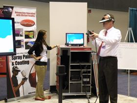 "VRSim's ""virtual"" spray painting training system was on display at COATING 2012."