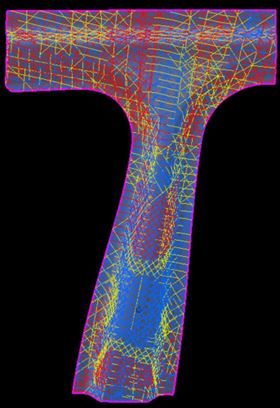 True fibre orientations are shown in the FiberSIM producibility simulation of an automotive B pillar, an effective design tool allowing optimised splicing, darting and material changes. (Picture courtesy of VISTAGY.)