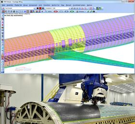 The HyperSizer Stress Framework for rapid airframe analysis (above) and design optimization of robotic automated fiber placement (AFP) manufactured structures (below).