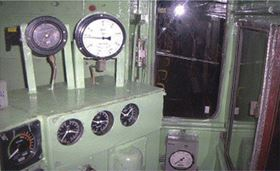 The previous interior of the driver's cab.