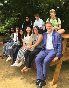 The Cellulose and Renewable Materials Group on an outing to Bristol Botanical Gardens. (Back row, left to right: Muhammad Ichwan, Dr Marcus Johns, Kate Oliver; bottom row, left to right: Eileen Atieno, Jing Wang, Dr Panjasila Payakaniti, Chenchen Zhu, Anna Taylor, and Steve Eichhorn.)