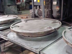 Production starts by grit-blasting a cast iron 'dish'.