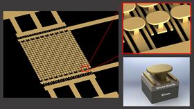 These images show the novel semiconductor-free microelectronic device made from a gold metasurface on top of a silicon wafer with a layer of silicon dioxide in between. Images: UC San Diego Applied Electromagnetics Group.