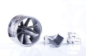 Components produced using additive manufacturing with high-performance metals.
