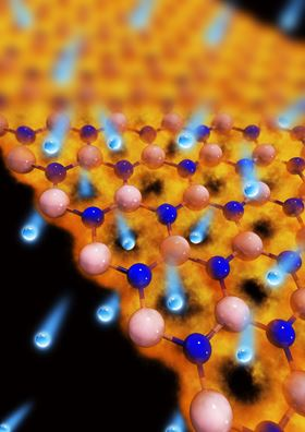 Artistic impression of Pt-nanoparticle decorated graphene membrane (Credit: Guoyan Wang, Yan Liang, and Rongting Zhou)