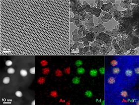 The new catalyst is made from alloyed nanoparticles of gold (Au) and palladium (Pd). Image: Brown University.