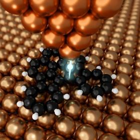 The copper AFM probe can manipulate matter, including organic molecules, at the atomic scale. Image: 2020 Shiotari et al.