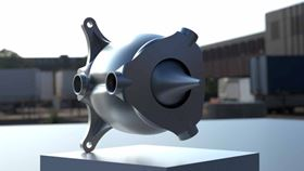 Front of the ProjectX additively manufactured aerospike rocket engine.